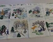 Grandma Moses Fabric Barkcloth RARE Tiles New Washed Rare Cotton  Fabric sewbuzyb