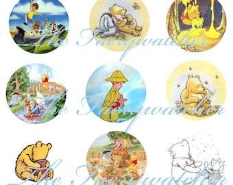 Classic Winnie the Pooh Pins, Winnie the Pooh Magnets, Pooh Bear Flatbacks, 12 ct.