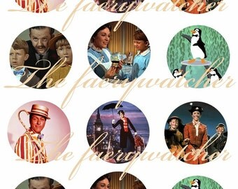 Vintage Mary Poppins Magnets, Mary Poppins Pins, Mary Poppins Flatbacks, Vintage Poppins Pins, 12 ct.