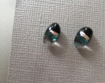 Tiny Oval Fused Glass Post Earrings