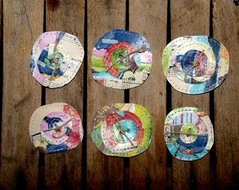 Set of Six Funky and Fun Paper Posie's/Flowers/Set C