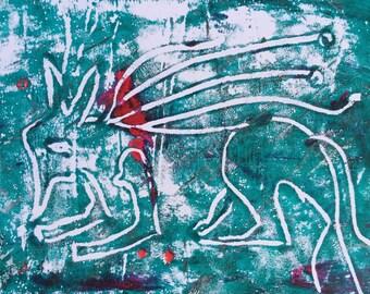 Mono Print Art print Cecil the Lion turquoise mono print OOAK gelli print