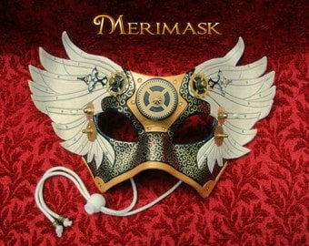 FREE SHIPPING USA il Tempo Vola...  winged Venetian clockwork steampunk mask masquerade costume halloween mardi gras burning man