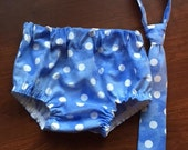 Necktie or Bowtie, Diaper Cover Set Blueberry White Polka Dot Photography Prop, Dressy Baby Boy