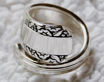 Silver Spoon Ring, Abstract Border, Name your size