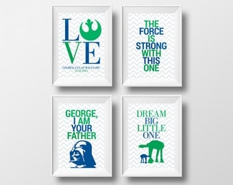 Set of 4 Printable 8x10 Custom Star Wars Inspired Signs Boys Nursery Wall Art - Personalized Prints - Force is Strong - Green and Navy Blue