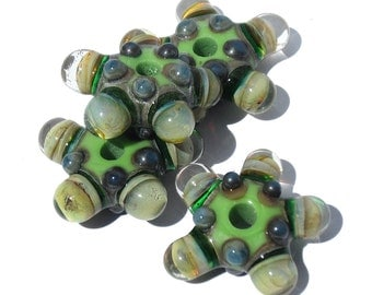 Handcrafted Lampwork Glass Beads Bubble Windows  s/4