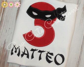Ninja Birthday Shirt, Ninja Turtle Birthday shirt, Birthday ninja shirt, Boys Birthday shirt, Ninja mask shirt, sew cute creations
