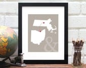 Personalized Two State Map Long Distance Love Custom Wedding Gift State Maps Best Friend Moving Gift Military Deployment 8x10 Art Print