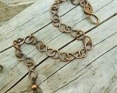 Wire Wrapped Copper Infinity links bracelet - hammered and antiqued link bracelet