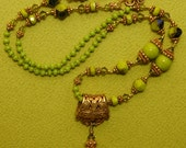 Hand knotted Chartreuse Czech glass and 24k gold vermeil beaded pendant necklace