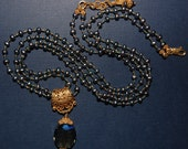 Hand knotted fresh water pearls, 24k gold vermeil beads and glass pendant necklace