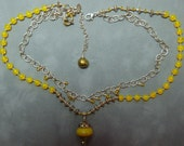 Hand knotted vintage yellow glass Mardi Gras beads, vintage glass from India and sterling silver beaded necklace