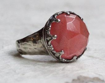 Cherry quartz ring, silver crown ring, Peach gemstone ring, Boho ring, gypsy ring, princess crown ring, hipster ring - Optimism R2113