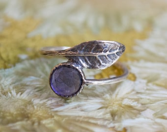 Sterling silver ring, amethyst ring, thin ring, stone ring, leaf ring, stone ring, stacking ring, delicate ring - Gone with the wind R2062-3