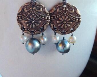 Bronze Oxidized Sterling Silver Saltwater Pearl Tahitian Keshi Mixed Metal Earring Pair - SALE