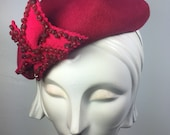 Hot Pink Red Beret-Valentine pink beret pillbox hat-wedding hat-ascot-races -cocktail party