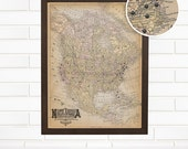 Personalized North America Push Pin Travel Map, Customized Vintage Ivory North American Pushpin Wall Map Art