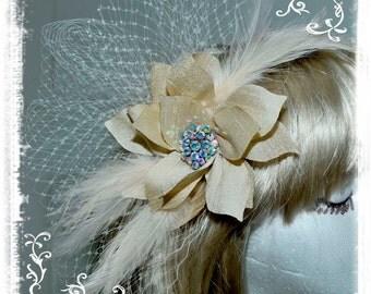 Swarovski Rhinestone Pearl Bridal Hair Comb Gold/Champagne Silk  w/feathers... Russian Veiling.. ...comb...Wedding.. formal..
