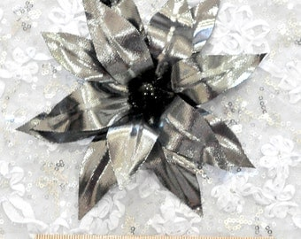 Silver /Black feather hair/hat flower.. formal, wedding, bridesmaids, flower girl,pageant..  clip on back