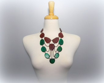 Leather Brown and Emerald Green Tagua Necklace Chain Bib Necklace with Free USA Shipping #taguanut #ecofriendlyjewelry