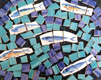 Mosaic Tiles--Ocean Fishes Custom Mix-100 tiles