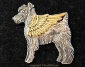 SCHNAUZER Guardian ANGEL PIN /Schnauzer Jewelry for Dog Lovers /Cloud K9 /Brooch for Pet Loss /Pet Memorial /Silver Tone Miniature Schnauzer