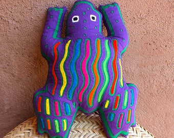 SALE! Fabulous, Super-Colorful Purple Mola Frog Pillow - Whimsical, Hand Sewn Kuna Indian Reverse Applique