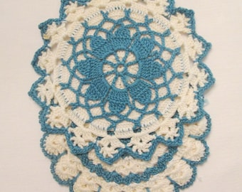 Two Vintage Hand Crocheted Hot Pates/ Hot Pads - Creamy White and Teal