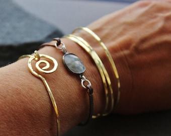 Swirl Skinny Stacking  Brass bangles, Shimmering gold brass bangles, Hand Hammered brass bangles