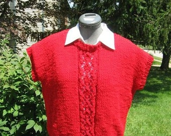 Handknit Red Vest  with Lace Design for Ladies