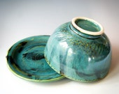 Pottery Bowl with Lid & Saucer, Ceramic Food Storage Container, Teal Green Covered Bowl