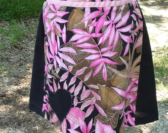 Pink Black Skirt, Handmade, Upcycled Skirt, Tropical Skirt, Black Heart Applique, Pink Black, Back Zipper, Recycled Skirt, Unique Clothing