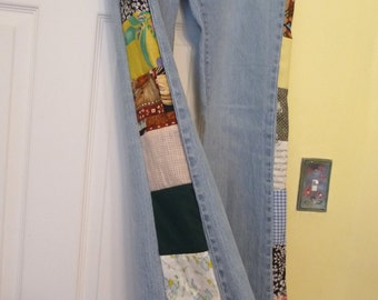 patchwork jeans, handmade jeans, unique clothing, vintage patchwork, vintage newer fabric, recycled jeans, pants,clothing,colorful patchwork