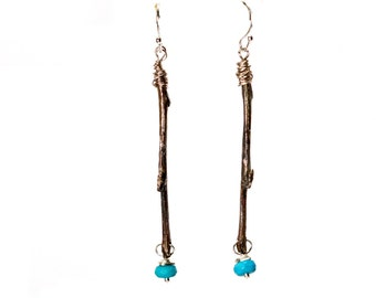 Silver Branch Earrings. Teal Turquoise.