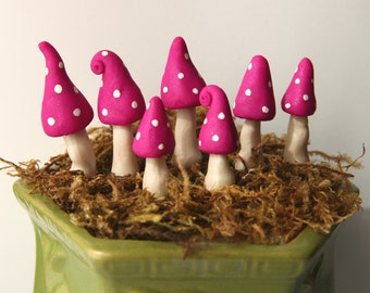 miniature clay mushrooms set of 7