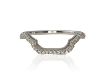 Contour Wedding Band, 14kt White Gold Prong Set Diamond Contoured Wedding Band - Can be customized - LS2446
