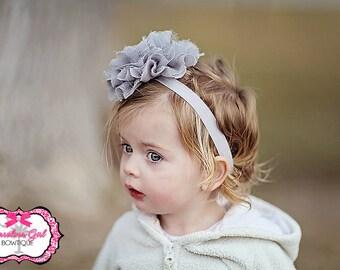 Gray Flower Headband - Shabby frayed chiffon and lace flower headband - Girls Hair Band - Headband