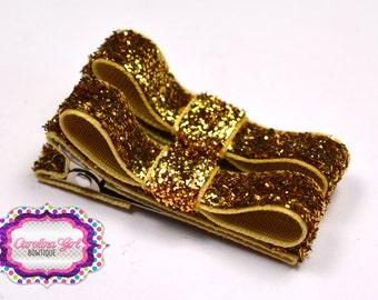 Gold Glitter Hair Clips Basic Tuxedo Clips Alligator Non Slip Barrettes for Babies Toddler Girl Set of 2