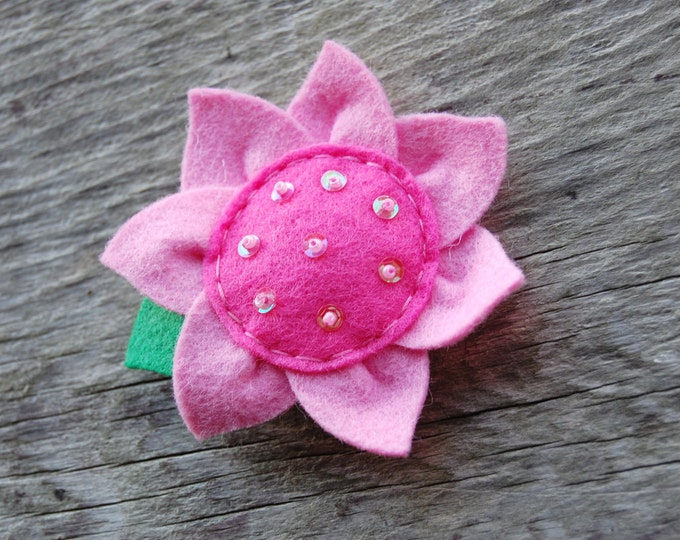 Pink Sunflower Hair Clip Basic Alligator Clip Non Slip Barrettes for Babies Toddler Girl