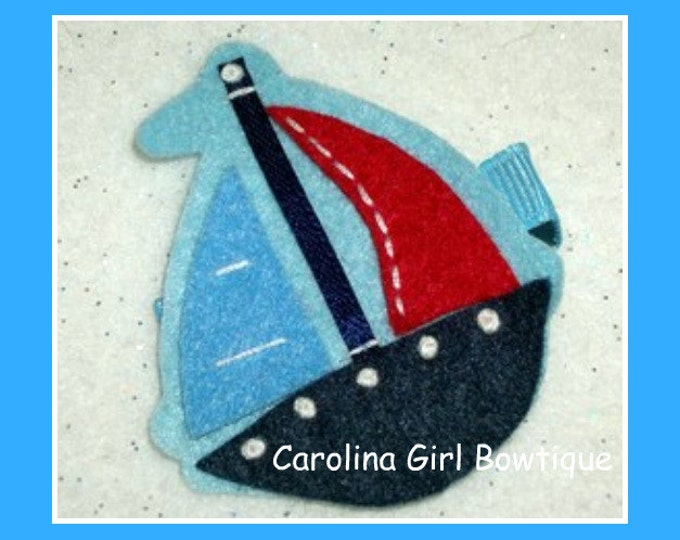 Sailboat Hair Clip Basic Alligator Clip Non Slip Barrettes for Babies Toddler Girl