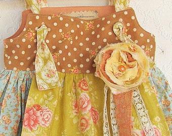 12M Fall Apron Knot Dress Aqua Coral Yellow READY to SHIP