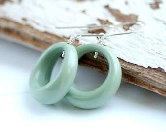 Lucite Earrings, Sage Green Earrings, Hoop Earrings, Statement Earrings, Retro Earrings, Statement Earrings, Sterling Silver, Funky Earrings