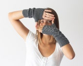 Long fingerless gloves in grey,knit cable gloves,texting gloves,arm warmers,womens knit gloves,mittens,mitts,teen knit gloves