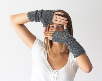 Long fingerless gloves in grey knit cable gloves texting gloves arm warmers womens gloves mittens mitts teen knit gloves