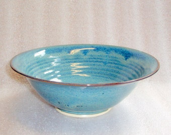 Blue Wheel Thrown Pottery Serving Bowl, Salad Bowl, Medium Size Bowl