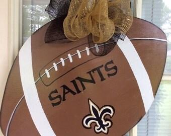 Front door decor, football door hanger, Saints football door hanger