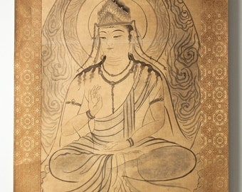 Buddha scroll painting on canvas, black water color and gold background, artist signed SCROLL103