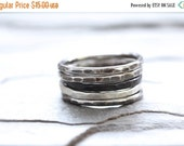45% OFF: Sterling Silver Stacking Ring. Hammered Heavy Gauge Ring. Pinky or Thumb Ring. Knuckle Ring