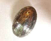 Victorian Vinaigrette Sterling Silver Egg Smelling Salts Chased SIlver
